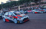 The perfect line-up: the lead pair of Toyota GAZOO Racing Yaris WRCs are poised for the start of Rallye Monte Carlo