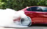 Alfa Romeo Giulia Quadrifoglio rear tyre smoke