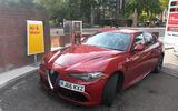 Alfa Romeo Giulia Quadrifoglio tyres being pumped up