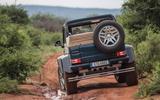 Mercedes-Maybach G650 Landaulet rear view on muddy track