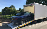 Audi S5 Cabriolet being towed away