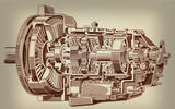 Technical cutaway of a gearbox