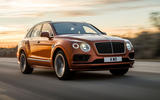 Bentley Bentayga Speed front three quarters in motion