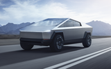 Tesla Cybertruck front driving