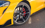 The Toyota GR Supra's 19-inch alloys stand out – especially with Lightning Yellow paintwork