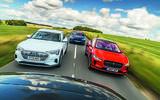 Jaguar I-Pace, Mercedes-Benz EQC, Audi E-tron and Tesla Model X driving