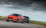 Jaguar I-Pace and Mercedes-Benz EQC cornering - front
