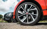 Jaguar I-Pace and Mercedes-Benz EQC front wheels