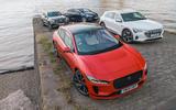 Jaguar I-Pace, Mercedes-Benz EQC, Audi E-tron and Tesla Model X parked
