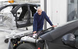 James Dyson with Dyson electric car