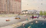 Liverpool's Stanley Dock is depicted as a hub of social and commercial activity