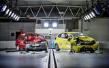The 1997 Rover 100 & a current Honda Jazz post-crash test. The Rover 'safety cell' is severely compromised, the driver compartment of the Jazz remains intact