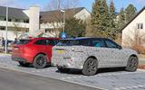 Jaguar F-Pace facelift spies rear side next to other car