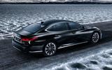 Lexus LS 500h flagship hybrid rear three quarter picture