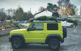 Christmas tree road trip in a Suzuki Jimny