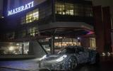 Maserati sports car test mule front