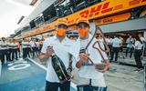 McLaren F1 drivers Lando Norris and Carlos Sainz celebrate their success