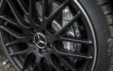Silver Mercedes-AMG A 45 brake calipers