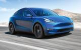 Tesla Model Y in blue - front
