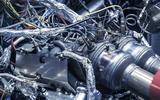 Aston Martin V6 engine exhaust detail