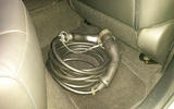 Nissan Leaf long-term review - charging cables in rear footwell
