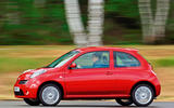 Nissan Micra at speed - side