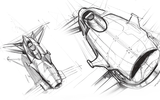 The original design sketch for Airspeeder - final designs have moved the concept on considerably