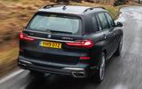 BMW X7 30d M Sport 2019 UK review - motion hero rear
