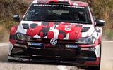 Front view of the Polo R5 on a rally stage