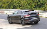 Porsche Cayenne Coupe 2019 spies Nurburgring active rear spoiler 3