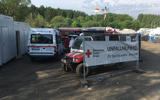 The German Red Cross has a sizeable presence in the Brunnchen fanzone. Stretchers and bodies not pictured.
