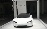 The Tesla Roadster on display at Grand Basel