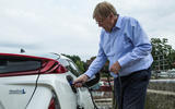 Steve Cropley charging the Toyota Prius PHEV