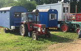 """This is how the local N24 fans roll. With a tractor - and what looks like a homemade corrugated caravan. """"Have you come far, then?"""""""