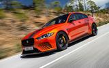 Jaguar XE SV Project 8 2018 road test review hero front