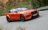 Jaguar XE SV Project 8 2018 road test review on the road front