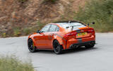 Jaguar XE SV Project 8 2018 road test review on the road rear
