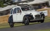 Citroen 2CV on Goodwood's hillclimb