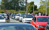 An army made up of hundreds of VW GTIs blocked traffic around Volkswagen's historic factory in Wolfsburg