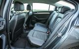 The rear seats in the large eighth-gen Volkswagen Passat