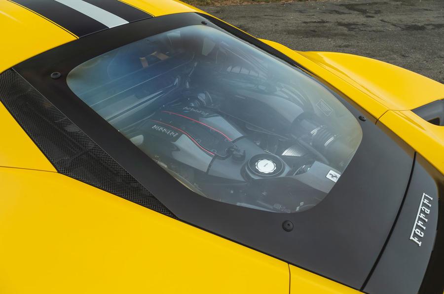 Ferrari 488 Pista 2019 road test review - engine cover