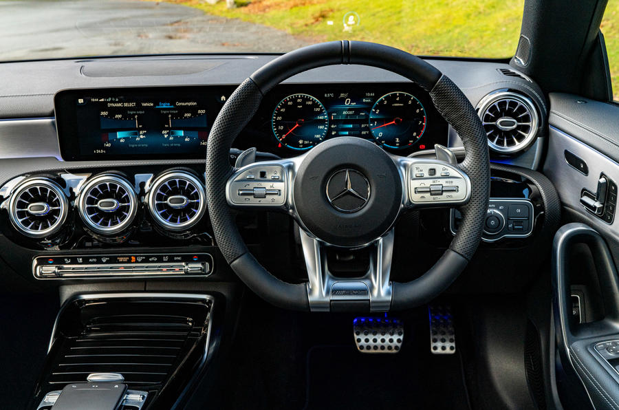 Mercedes-AMG CLA35 2020 road test review - steering wheel