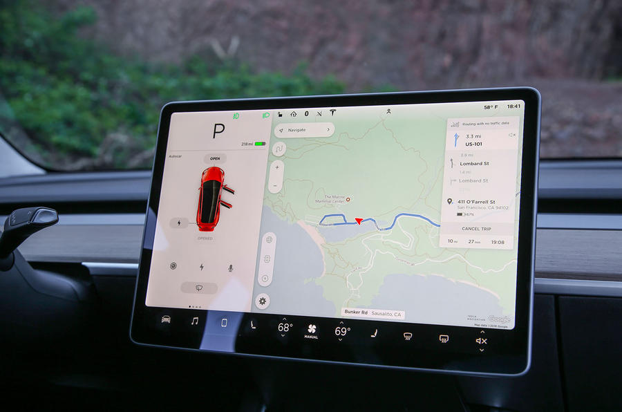 Tesla Model 3 2018 road test review infotainment Sat Nav