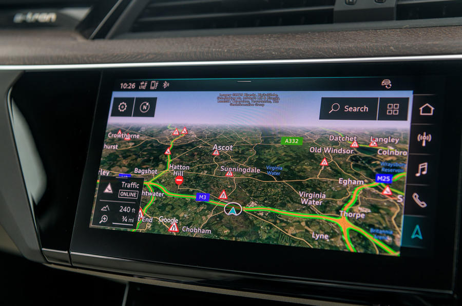 Audi E-tron 55 Quattro 2019 road test review - navigation