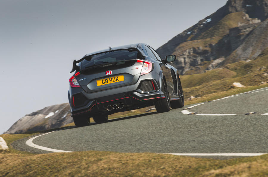 Honda Civic Type R 2019 road test review - cornering rear