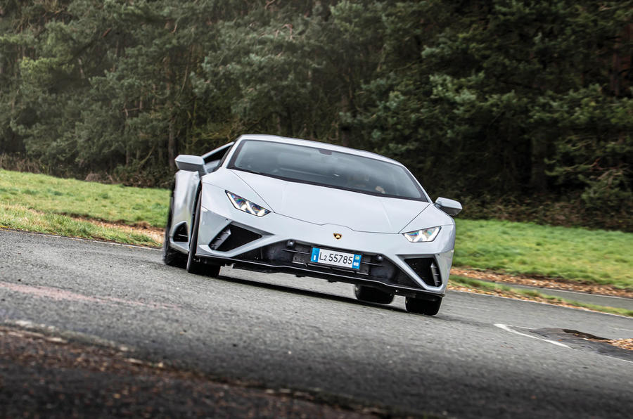 Lamborghini Huracan EVO RWD 2020 road test review - cornering front