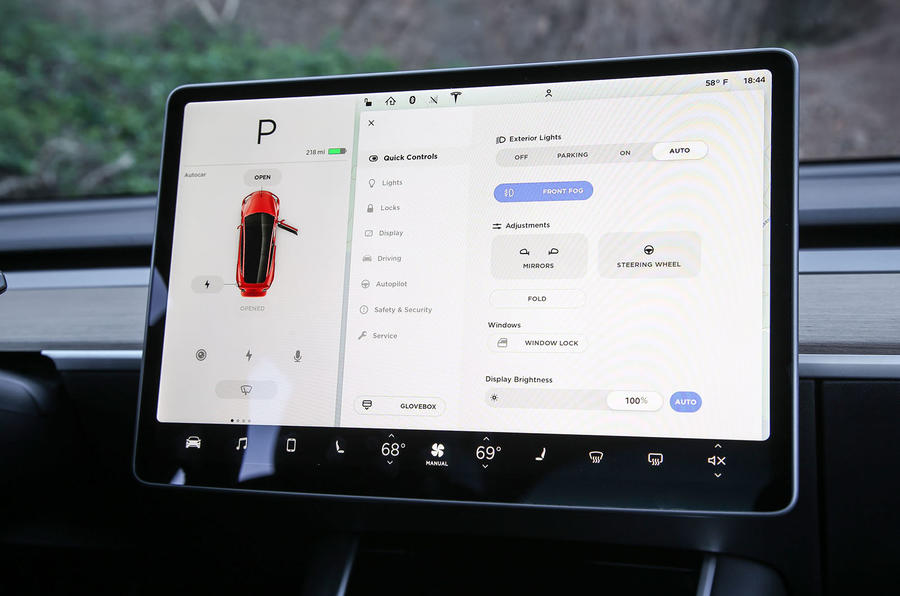 Tesla Model 3 2018 road test review infotainment settings