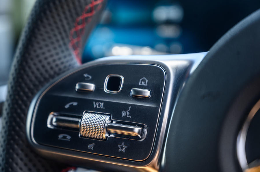 Mercedes-Benz A250e 2020 road test review - steering wheel buttons