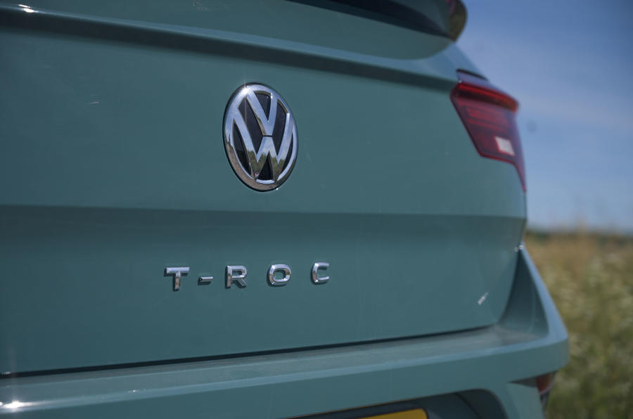 Volkswagen T-Roc Cabriolet 2020 road test review - rear logo