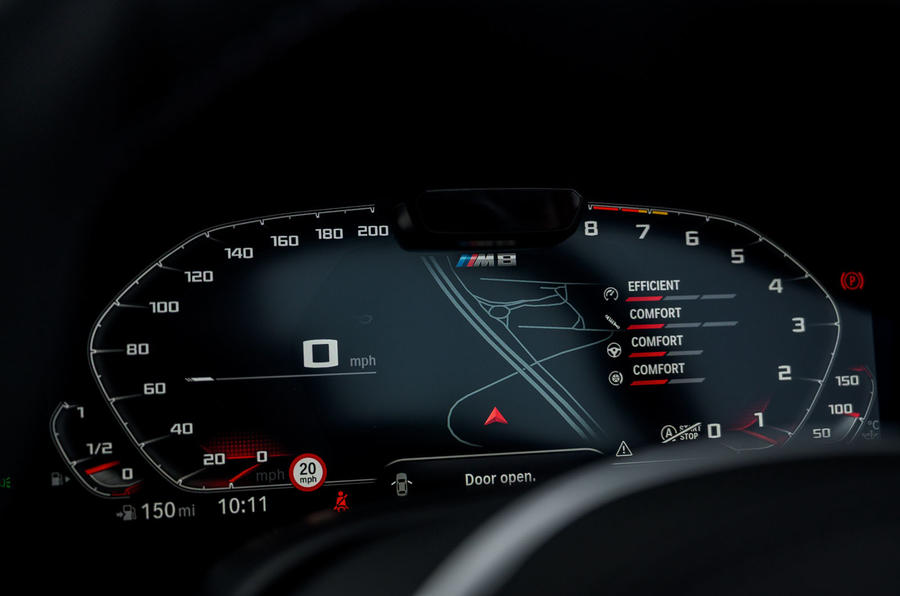 BMW M8 Competition convertible 2020 road test review - instruments